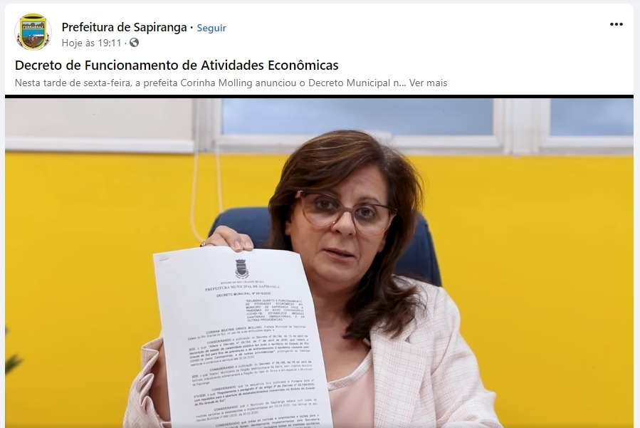 Prefeita Corinha Molling anuncia novo decreto