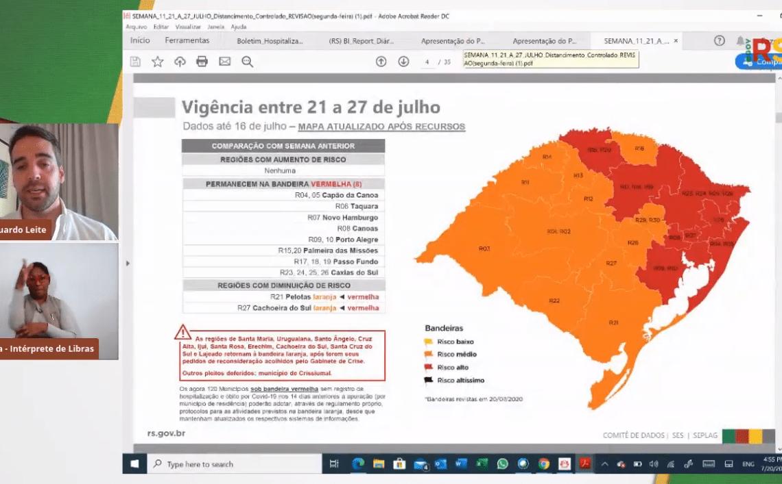 Governador Eduardo Leite atualiza bandeiras do distanciamento controlado | Foto: Reprodução/YouTube