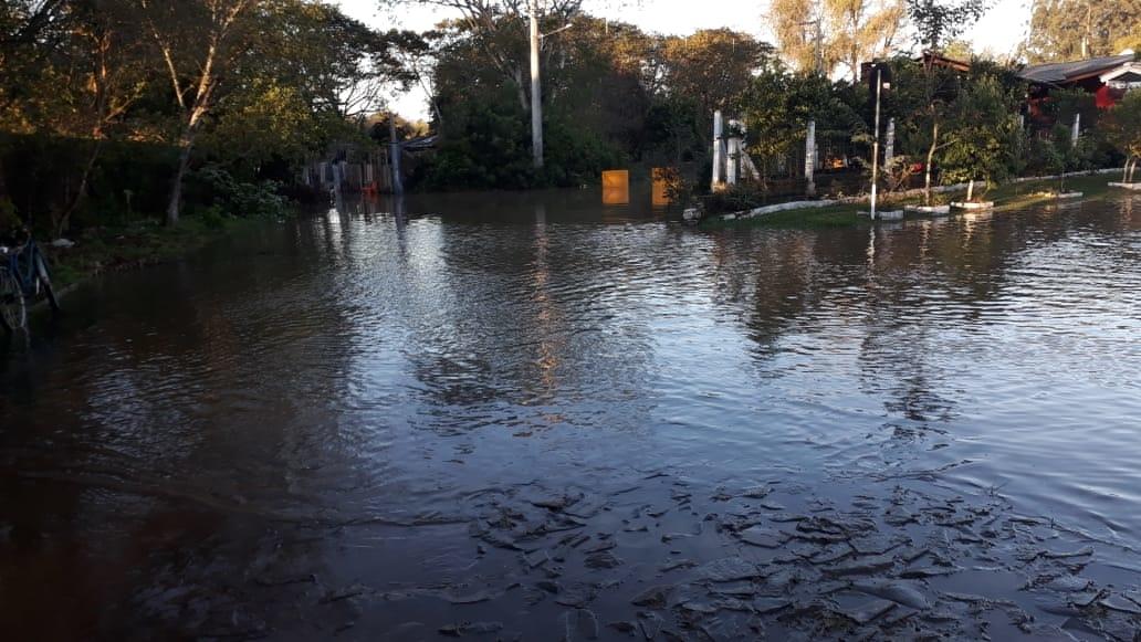 Nível da água já ultrapassou nível máximo para que não invada ruas e casas em Campo Bom | Foto: Defesa Civil/CB