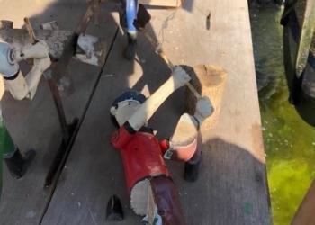 Boneco da roda d'água foi depredado no  domingo, 2, durante aglomeração Foto: Keila Massaia