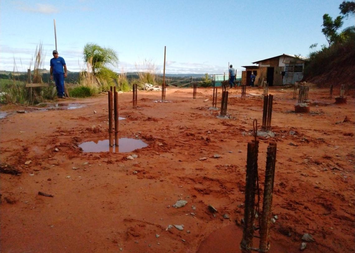 Estacas da fundação do reservatório foram concluídas pela equipe da construtora Foto: Deivis Luz
