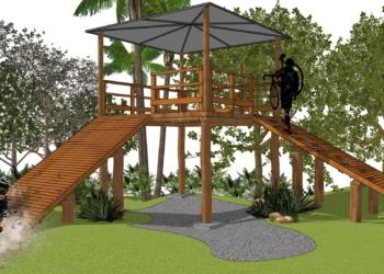 Plataforma de largada terá 2,60 metros de altura e 4 metros de extensão Foto: Renan Borges/Arqstudio Arquitetura