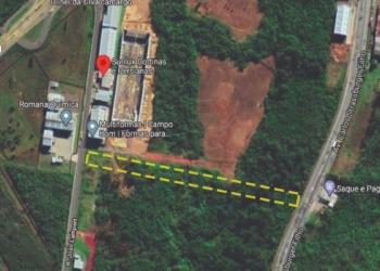 Imagem em amarelo mostra o futuro traçado da rua que interligará a empresa com a Rua João Lampert com a Av. Carlos Strassburguer Filho  Gráfico: Fernando Berttoto/JR