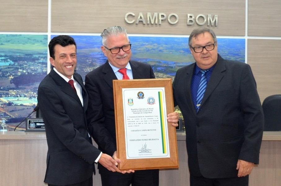 Fernando Bilhalva recebeu o título de Cidadão Campo-Bonense em 2019 | Foto: Katiele Bortolini/Arquivo Câmara de Vereadores