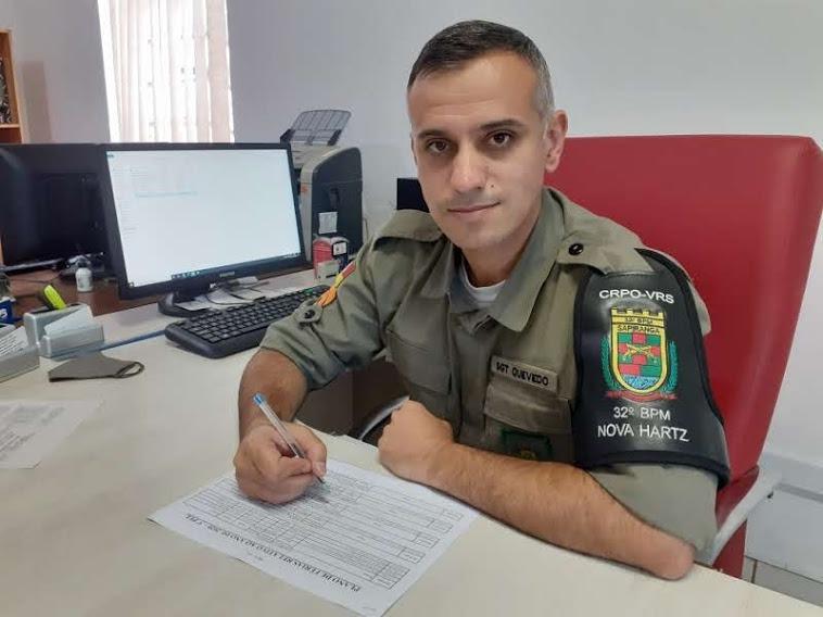 Sargento Quevedo  vem de Dois Irmãos  para atuar na chefia  das corporações de  Nova Hartz e Araricá  Foto: Melissa Costa