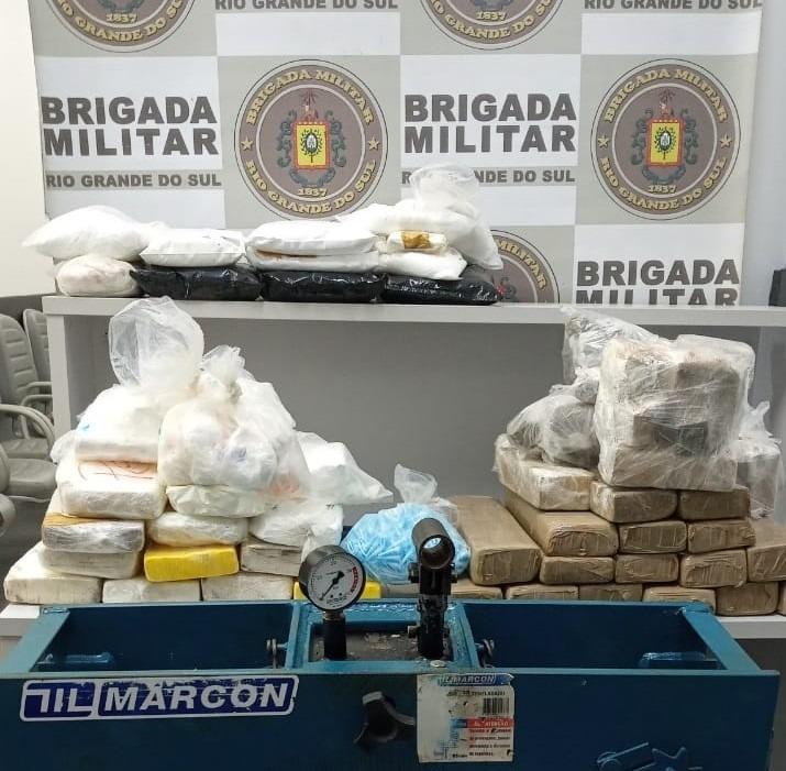 Droga apreendida durante a ação (Foto: Brigada Militar)