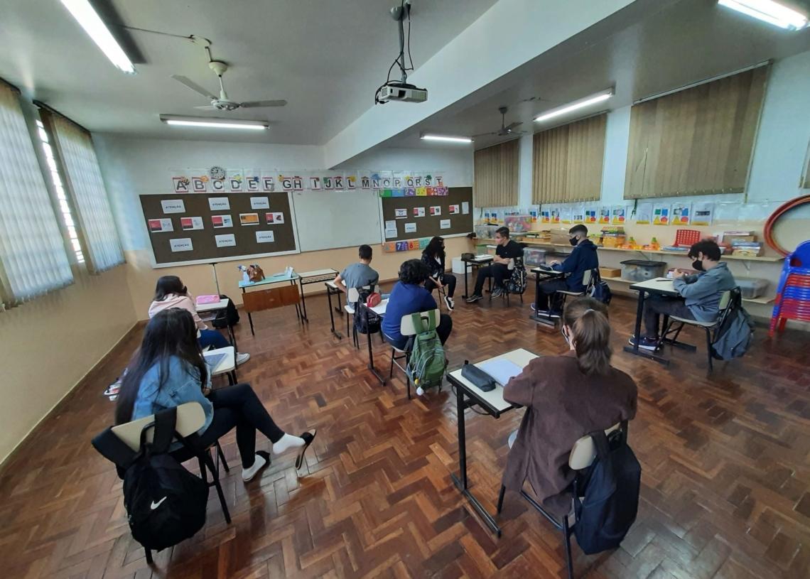 Em Campo Bom, alunos do 9º ano estão frequentando aulas presenciais. Foto: Henrique Ternus