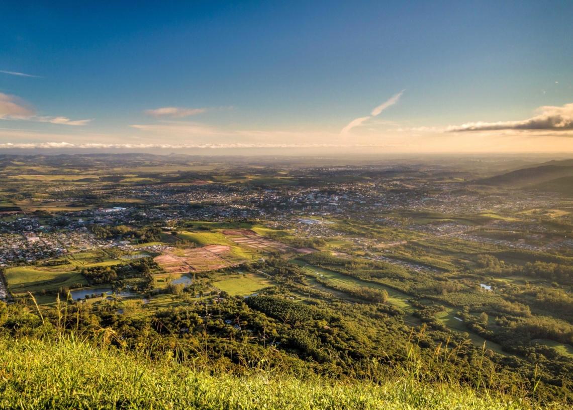 Foto aérea de Sapiranga: Créditos: Fábio Haag