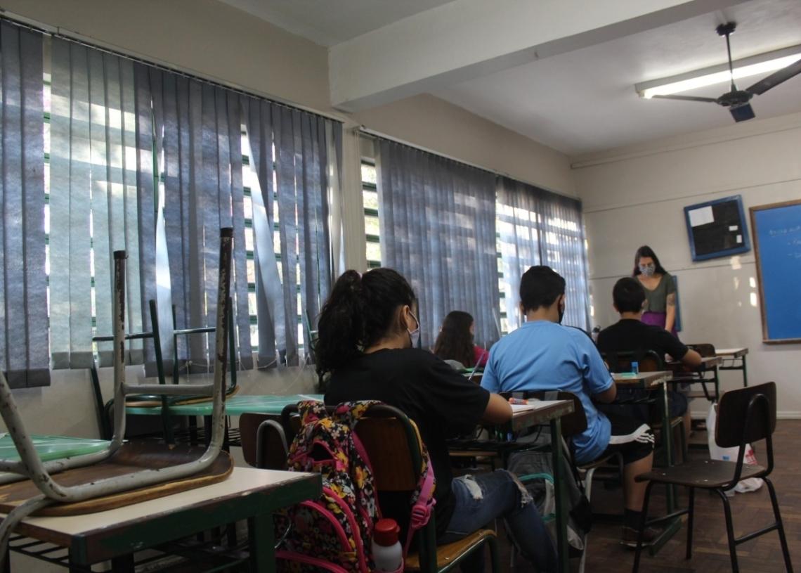 Com distanciamento e uso de máscara, iniciam as aulas em Sapiranga (Foto: Melissa Costa)