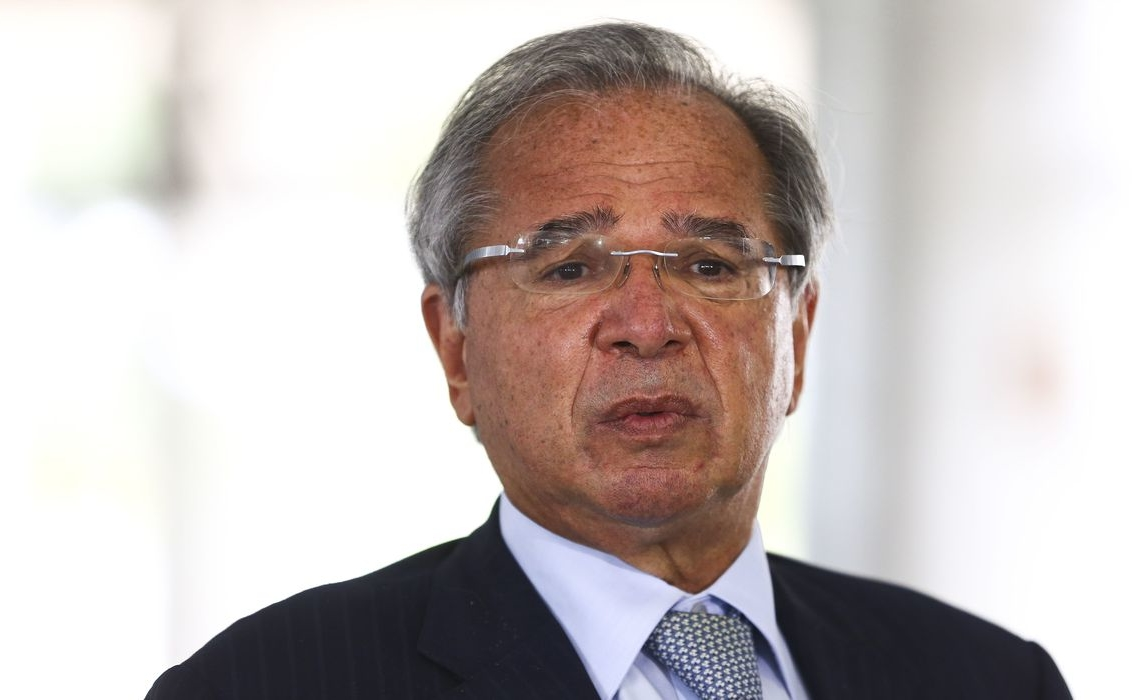 O ministro da Economia, Paulo Guedes, durante entrevista coletiva no Palácio do Planalto.