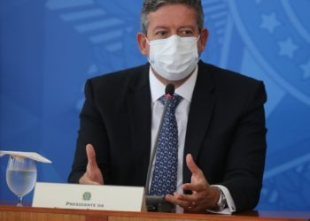 O presidente do Senado, Rodrigo Pacheco, da Camara Arthur Lira e o ministro da Saúde, Marcelo Queiroga, dao entrevista coletiva após a reuniao do Comite de Coordenacao Nacional de Enfrentamento da Pandemia de Covid-19