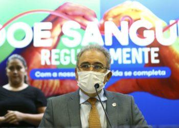 O ministro da Saúde, Marcelo Queiroga, durante o lançamento da campanha de doação de sangue no Dia Mundial do Doador de Sangue.