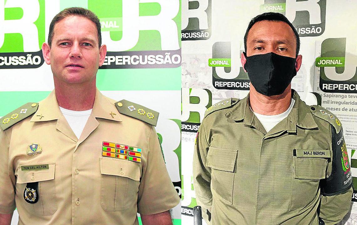 Tenente-coronel Ailton e Major Beron (Foto: Arquivo JR)